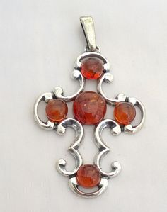 Baltic Amber 925 sterling silver Cross Pendant Poland Jewelry 2.5 inches #Unbranded #Pendant