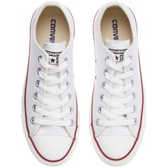 Converse Chuck Taylor All Star Low Top Leather Trainers , White ($78) ❤ liked on Polyvore featuring shoes, sneakers, converse, sapatos, flat sneakers, white flat shoes, converse shoes, flat shoes and lace up sneakers