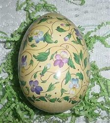 German Easter Egg Container SHABBY Violets Pansy on Yellow $8.99