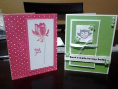 Card to the right was made at a Stampin' Up Card class i attended;  Embossed the card front, then inked it with a stamp pad to create the effect. Used the lotus Blosson stamp set from Stampin Up, and matted it with a pink card stock.   Card on the right is cut from a glittery paper I bought at Wal-mart, cut and matted with white, used an owl stamp, printed seniment, and embellishments.