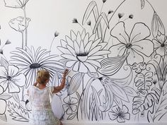 # Ohlalá Source by happyblujoy The post Dekoration Deko: keine weiße Wand Ohlalá Maga Mural Floral, Flower Mural, Flower Wall, Mural Wall Art, Diy Wall Art, Wall Decor, Creative Wall Painting, Wall Drawing, House Painting