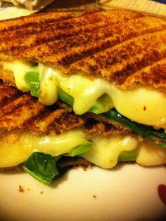spinach, avacado, mozzarella grilled cheese...I add scrambled egg for a breakfast sandwhich