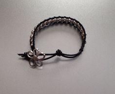 Leather Bracelet Ladder Bracelet Bead Bracelet Girls by PBandJLane, $15.89
