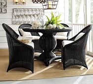 Palmetto All-Weather Wicker Round Pedestal Dining Table & Set - Black