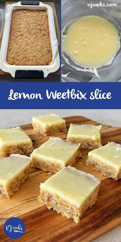 We're excited to share with you this easy and delicious Lemon Weetbix Slice Recipe. Vanya from VJ Cooks fame whipped this up after her Chocolate Weetbix Slice was so popular. Baking Tins, Baking Recipes, Cake Recipes, Dessert Recipes, Baking Ideas, No Cook Recipes, Fish Recipes, Recipies, Tray Bake Recipes