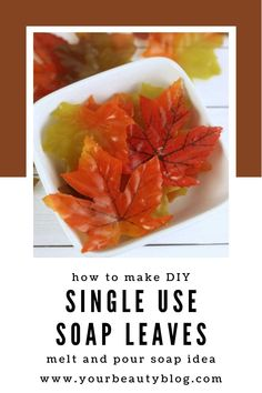 How to make single use soap in cute fall leaf shapes. These soaps are great to take with you so you always have soap. They don't spill, so they are great for travel. They also look really cute in a guest bath. #soapmaking #fall #soap #crafts via www.yourbeautyblog.com Diy Single Use Soaps, Liquid Soap Making, Soap Tutorial, Homemade Soap Recipes, How To Make Diy, Cold Process Soap, Recipes For Beginners, Leaf Shapes, Home Made Soap