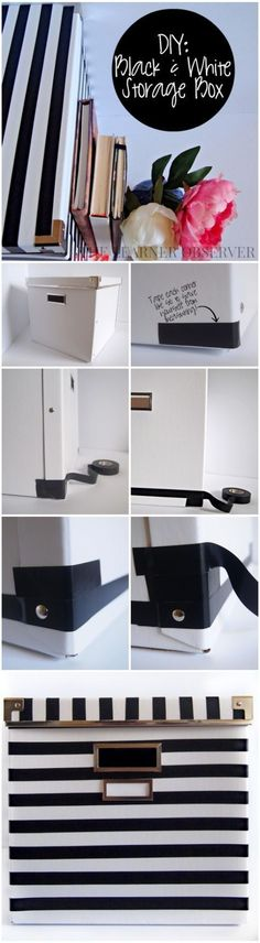 Kate Spade inspired black and white storage box made using an Ikea box and black electrical tape. Diy Wall Decor, Decor Crafts, Home Decor, Ikea Boxes, Rainy Day Crafts, Electrical Tape, Crafts To Make And Sell, Dollar Store Crafts, Ikea Hack