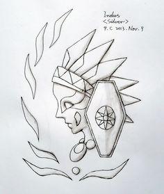 My paintings——Hand painted. 我2013.11.09我自己人设的--印地安座白圣斗士银安托尼奥的圣衣箱子花纹图。参照了SS里绘画圣衣箱子外部花纹那样,我把边缘花纹稍作了改变。中间表示圣衣星座的图案是自己参考了星座图案表示图来自己设计的。