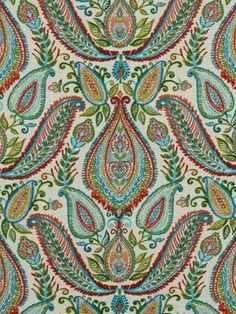 red paisley fabric woven cotton upholstery door