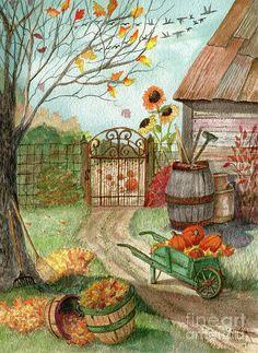 Autumn Painting - Grandpas Pumpkin Patch by Marilyn Smith Fall Canvas Painting, Autumn Painting, Autumn Art, Autumn Prints, Halloween Pictures, Fall Pictures, Pictures To Paint, Autumn Scenes, Pintura Country