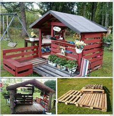 Kiosk Lekstuga - All About Garden Diy Outdoor Bar, Outdoor Cabana, Kids Outdoor Play, Backyard For Kids, Outdoor Decor, Pallet Playhouse, Backyard Playhouse, Pallet Fort, Outdoor Pallet Projects