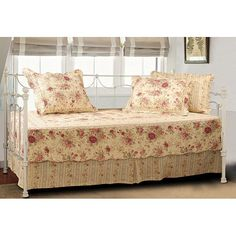 Greenland Home Fashions Antique Rose - 5 Piece Daybed Set - Daybed Bedding at Hayneedle Daybed Cover Sets, Daybed Sets, Daybed Bedding, Quilt Bedding, Comforter Sets, Duvet Covers, Trundle Beds, Daybed Mattress, Cody Simpson