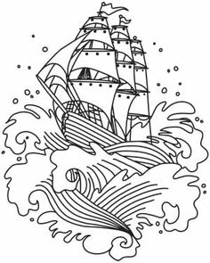 The Seven Seas - Ship Tattoo | Urban Threads: Unique and Awesome Embroidery Designs
