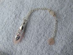 pendulum rose quartz for divination silver by celestialmoonjourney