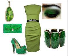 Wasze zielone stylizacje - zielonomanka!  :).  Do #konkursu na #najlepsza #stylizacja zaprasza www.big-active! 1.wisior od Ciapajas  2.sukienka  3.zielone szpilki  4.Bransoletka