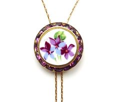 Broken China Jewelry Purple Violets Lariat Y by DinnerwearJewelry