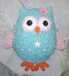 Little Star Aqua Owl Pinata  MADE TO ORDER cakepins.com
