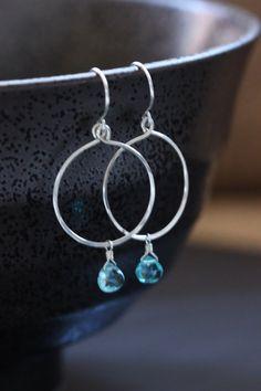 Blue Apatite Argentium Sterling Silver Earrings, Simple Circle Loop Hoop,Gemstone Semiprecious Hammered - Ella, by Princess Ting Ting Jewelry @ Etsy