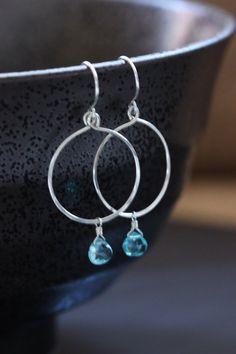 Blue Apatite Argentium Sterling Silver Earrings, Simple Circle Loop Hoop,Gemstone Semiprecious Hammered - Ella, by Princess Ting Ting Jewelry @ Etsy