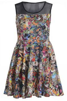Super fun cartoon dress Plus Size Clothing Uk, Plus Size Dresses, Plus Size Outfits, Women's Clothing, Curvy Fashion, Plus Size Fashion, Black Cartoon, Curvy Dress, Curvy Plus Size