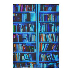 Blue painted book shelves for those who love to read.
