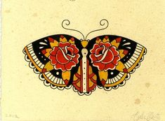 Old school colorful moth with rose pattern on wings tattoo design ...