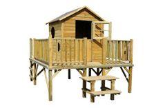Maisonnette Enfant bois TOUR DE RONDE - Le jardin des enfants - Jardin - LeKingStore