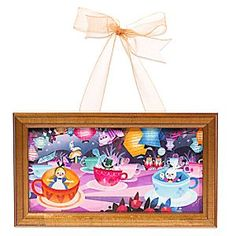 ''Mad Tea Party'' Framed Giclée by Joey Chou - Hanging Miniature   Disney Store Joey Chou uses a dizzying color palette in this piece inspired by the Mad Tea Party attraction. Featuring Alice and some friends from Wonderland, the miniature giclée on canvas comes framed with an organza ribbon for hanging.