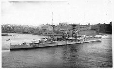 Post view of HMS Valiant entering harbour at Malta (she served in the Mediterranean Fleet from 1924 - Heavily reconstructed, much of her service was also in the Mediterranean: the future Prince Philip served on her at the Matapan victory in March Naval History, British History, Military Guns, Military History, Malta History, George Cross, Capital Ship, Man Of War, Fleet Street