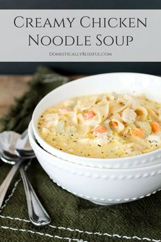 Creamy Chicken Noodle Soup for vegetarians is a yummy creamy twist on the classic chicken noodle soup.