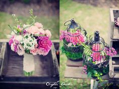 Flower arrangement in a birdcage centerpiece idea