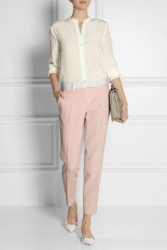 FENDI stretch-wool tapered pants £575 | EQUIPMENT Henri washed-silk shirt £260