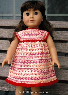 Fingering weight ABC Knitting Patterns - American Girl Doll Carolina Summer Dress