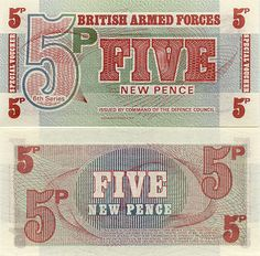 Great Britain 5 New Pence 1972 - British Armed Forces Currency Bank Notes, Paper Money, Banknotes, Banknote, Bank-Notes, Coins & Currency. Currency Collector. Pictures of Money, Photos of Bank Notes, Currency Images, Currencies of the World.