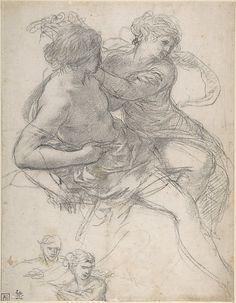 Study of Two Figures for the Age of Gold - Pietro da Cortona (Pietro Berrettini) (Italian, Cortona 1596–1669 Rome)