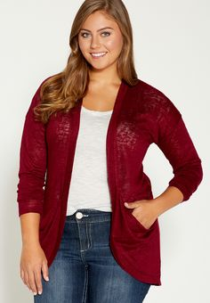 Plus Size Cardigan With Slouchy Pockets