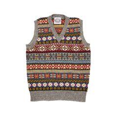 "Jamieson's V-Neck Fair Isle Slipover in Silver Jamieson's of Shetland - Genuine Shetland and Fair Isle knitwear – Tagged ""Jamiesons of Shetland"" – Dick's Edinburgh STE. Fair Isle Knitting Patterns, Fair Isle Pattern, Chaleco Casual, Skirt Pattern Free, Shetland Wool, Vintage Knitting, Sock Knitting, Free Knitting, Knit Vest"