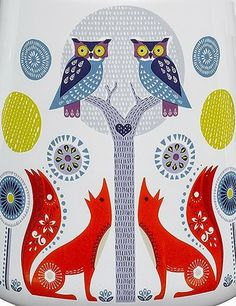 "owls and foxes in the ""Folk Lore Collection"" by Nina Jarema for ""Wild And Wolf"""