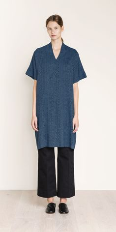 """MARIMEKKO KYLLI DRESS - PETROL, BLACK – pirkko.  New for Fall '16 and already a winner style! An oversized V-neck dress made of viscose crepe. It has a dropped shoulder and a wide straight cut so it can be sized down if desired. Size Medium measures 40"""" from shoulder to hem. The Hamppu print was designed in 1960 by Oiva Toikka for Marimekko's 10th anniversary  #business #teal #turquoise #tribal #pirkkoseattle #pirkkofinland #wedding #black #tunic #dress"""