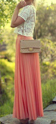 Peach Pink Chiffon Pleated Skirt with lace top. I LOVE this