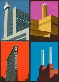 Paul Catherall bold linocuts of architectural landmarks Building Illustration, City Illustration, Graphic Design Illustration, Cultural Architecture, Urban Architecture, Bauhaus, Ing Civil, Art Deco Stil, A Level Art