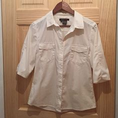 DarylK-189 Button Down Shirt Great shirt for work. Has hidden snaps so that it doesn't accidentally open to reveal your sexy bra underneath. Versatile comfortable shirt that's been gently worn but still has lots of life left. Washes in the machine very well. DarylK-189 Tops Button Down Shirts
