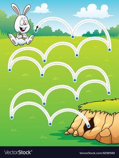 Game for children Royalty Free Vector Image - VectorStock Animal Worksheets, Printable Preschool Worksheets, Kindergarten Worksheets, Worksheets For Kids, Preschool Learning Activities, Free Preschool, Kids Learning, Activities For Kids, Preschool Writing