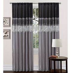 Lush Decor Night Sky Black and Grey Window Curtain at www.bostonstore.com | The Lush Decor Night Sky Black and Grey Window Curtains are certain to light up your room. THE UNIQUE DESIGN OF THESE CURTAINS FEATURES A ROD POCKET ON BOTH THE TOP AND THE BOTTOM  allowing the panel to be hung from either end. Faux silk combined with sparkling black and silver sequins create a dramatic effect, while the lining on the back provides extra privacy and insulation.