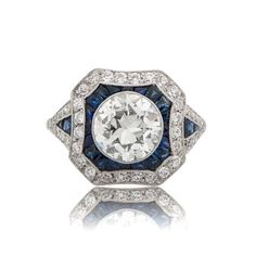 Stunning Estate Diamond and Sapphire Ring from the 1920's, featuring a 1.67ct old European cut diamond. Offered by EstateDiamondJewelry on Etsy.