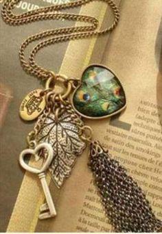 Cute bronze necklace Beautiful vintage bronze peacock heart key tassel long chain necklace new Jewelry Necklaces Peacock Necklace, Feather Necklaces, Jewelry Necklaces, Jewelry Watches, Beaded Jewelry, Tassel Jewelry, Statement Jewelry, Jewlery, Bracelets