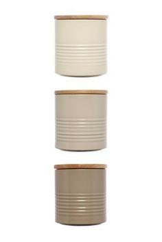 Set Of 3 Metal Ripple Storage Jars