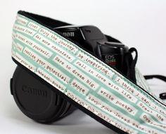 dSLR Camera Strap,Quotes, Green, Inspirational, SLR. $26.00, via Etsy.