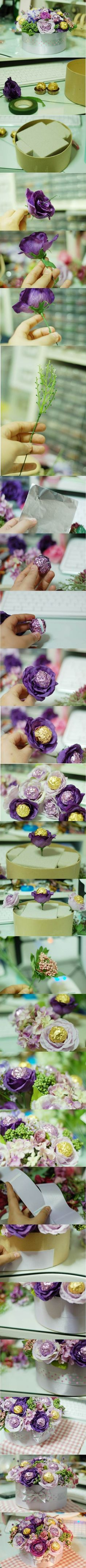 DIY Valentine's Day Chocolate Flower Bouquet | iCreativeIdeas.com Like Us on Facebook == https://www.facebook.com/icreativeideas