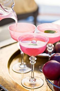 In-The-Pink Drink: Red grapefruit juoice, pomegranate juice, vodka and fresh mint sprigs